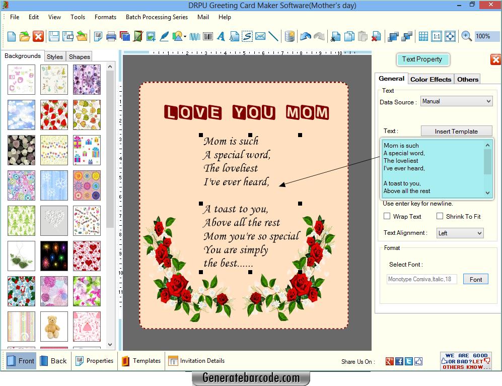 Greeting card maker software GenerateBarcode – Birthday Card Maker Download